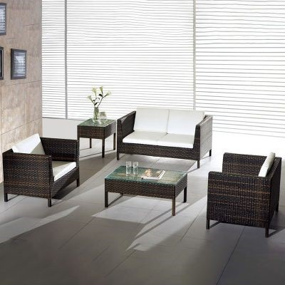 Rattan sofa with seat cushion is common furniture in the living room
